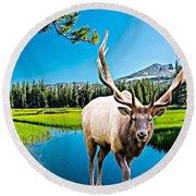 Bull Elk By The Lake Round Beach Towel
