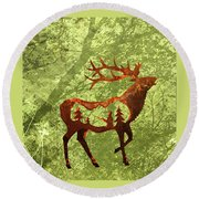 Round Beach Towel featuring the photograph Bull Elk by Larry Campbell