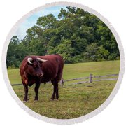 Bull In Field Round Beach Towel