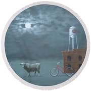 Bull Moon Ride Round Beach Towel
