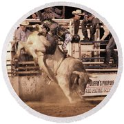 Round Beach Towel featuring the photograph Bull Riding 1 by Natalie Ortiz