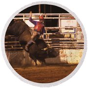 Round Beach Towel featuring the photograph Bull Riding 2 by Natalie Ortiz