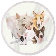 Bull Terrier W/ghost Round Beach Towel