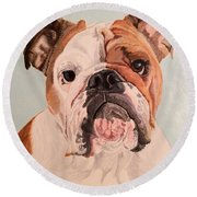 Bulldog Beauty Round Beach Towel