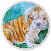 Round Beach Towel featuring the painting Bulldog Cub  - Watercolor Portrait by Fabrizio Cassetta