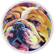 Round Beach Towel featuring the painting Bulldog Love by Robert Phelps