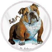 Bulldog Pop Art Round Beach Towel