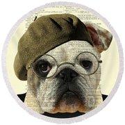Bulldog Portrait, Animals In Clothes Round Beach Towel