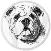 Bulldog-portrait-drawing Round Beach Towel