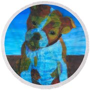 Round Beach Towel featuring the painting Bulldog Puppy by Donald J Ryker III