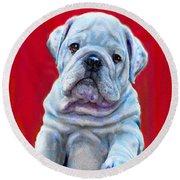 Bulldog Puppy On Red Round Beach Towel by Jane Schnetlage