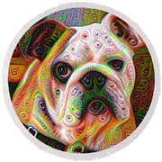 Bulldog Surreal Deep Dream Image Round Beach Towel