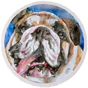 Round Beach Towel featuring the painting Bulldog - Watercolor Portrait.3 by Fabrizio Cassetta
