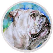 Round Beach Towel featuring the painting Bulldog - Watercolor Portrait.4 by Fabrizio Cassetta