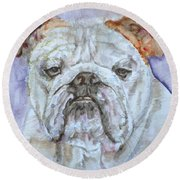 Round Beach Towel featuring the painting Bulldog - Watercolor Portrait.5 by Fabrizio Cassetta
