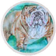 Round Beach Towel featuring the painting Bulldog - Watercolor Portrait.6 by Fabrizio Cassetta