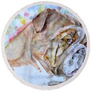 Round Beach Towel featuring the painting Bulldog - Watercolor Portrait.7 by Fabrizio Cassetta