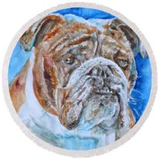 Round Beach Towel featuring the painting Bulldog - Watercolor Portrait.8 by Fabrizio Cassetta