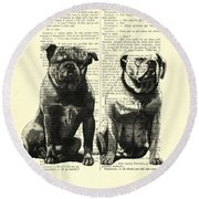 Bulldogs, Two Dogs Sitting Black And White Vintage Illustration Round Beach Towel