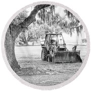 Bulldozer Round Beach Towel