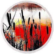 Bullrushes Against The Sunset Round Beach Towel