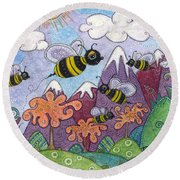 Bumble Bee Buzz Round Beach Towel by Tanielle Childers