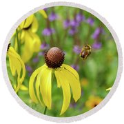 Bumble Bee Heaven Round Beach Towel by Janice Adomeit