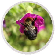 Round Beach Towel featuring the photograph Bumble Bee by Heidi Poulin