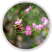 Round Beach Towel featuring the photograph Bumble Bee1 by Megan Dirsa-DuBois