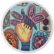 Round Beach Towel featuring the painting Bumblefly by Brandon Drucker