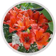 Bunch Of Lilies Round Beach Towel by Catherine Gagne