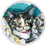 Bunch Of Love - Cat Painting Round Beach Towel