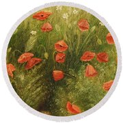 Bunch Of Poppies Round Beach Towel