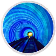 Round Beach Towel featuring the photograph Bund Tunnel Lights by Angela DeFrias