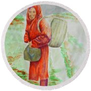 Bundled And Barefoot -- Portrait Of Old Asian Woman Outdoors Round Beach Towel