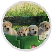 Bundles Of Joy - Labrador Art Round Beach Towel