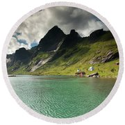 Bunesfjord And Mountains Round Beach Towel