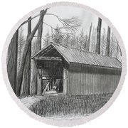 Bunker Hill Covered Bridge  Round Beach Towel