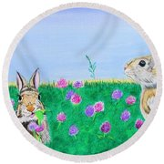 Bunnies In Clover Round Beach Towel
