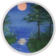 Round Beach Towel featuring the painting Bunnies In The Garden At Midnight by Denise Fulmer