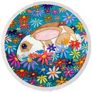 Bunny And Flowers Round Beach Towel by Nick Gustafson