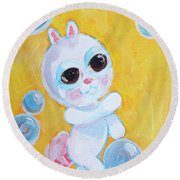 Bunny And The Bubbles Painting For Children Round Beach Towel