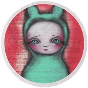 Bunny Girl Round Beach Towel by Abril Andrade Griffith