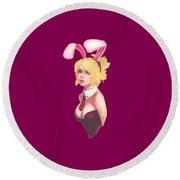 Bunny Girl T-shirt Round Beach Towel