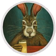 Round Beach Towel featuring the painting Bunny Hops by Leah Saulnier The Painting Maniac