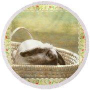 Bunny In Easter Basket Round Beach Towel