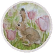 Bunny In The Tulips Round Beach Towel by Laurie Morgan