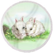 Bunny Love In Color Round Beach Towel