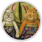 Round Beach Towel featuring the painting Bunny Love by Leah Saulnier The Painting Maniac