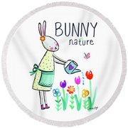 Bunny Nature Round Beach Towel